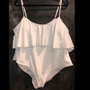 One piece drape sleeve swimsuit